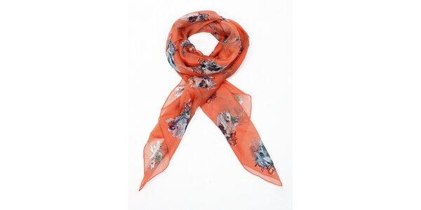 Dámsky oranžový hodvábny šál Alexander McQueen s lebkami a ružami