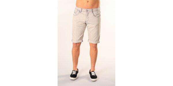 Pánske svetlo šedé džínsové bermudy SixValves