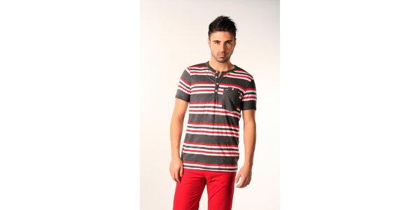Pánske šedé tričko s červeno-bielymi pruhmi SixValves