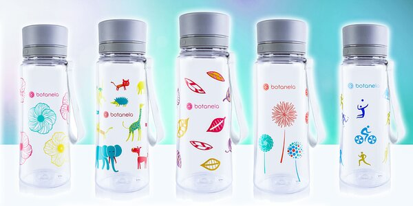 Fľaša na vodu Botanela s rôznymi motívmi