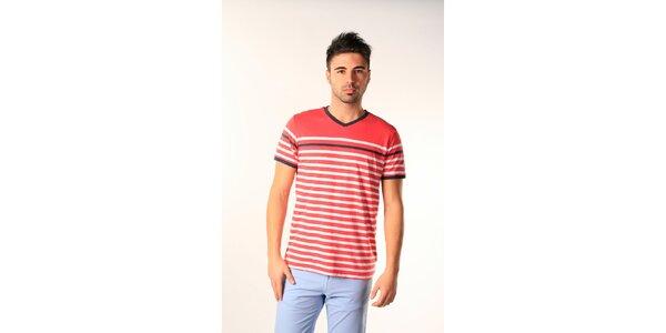 Pánske červeno-biele pruhované tričko SixValves