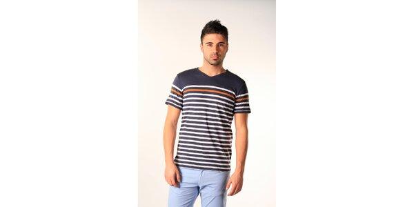 Pánske modro-biele pruhované tričko SixValves