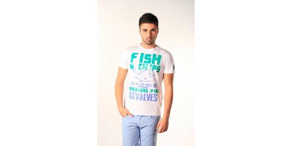 Pánske modro-biele tričko s gurmánskou potlačou SixValves