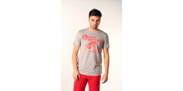 Pánske šedé tričko s červenou potlačou SixValves