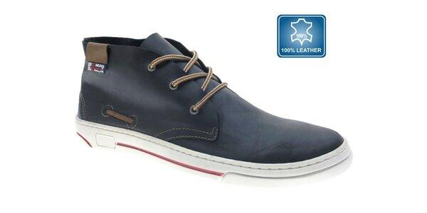 Pánske kožené temne modré kotníkové topánky Beppi