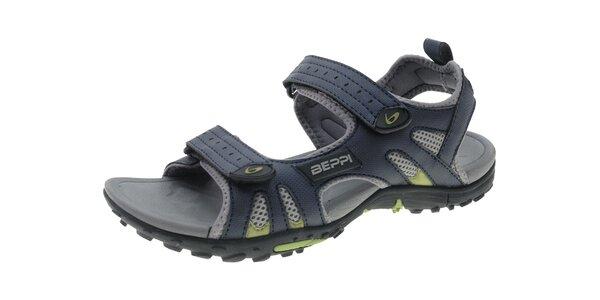 Pánske modré sandále so suchymi zipsami Beppi