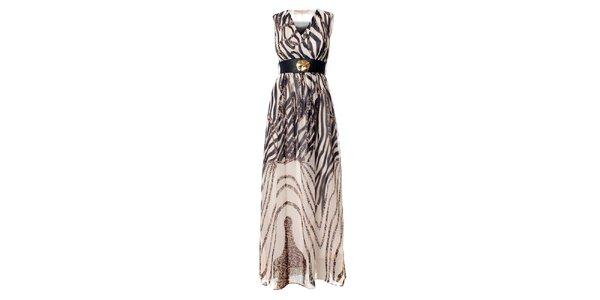 Dámske dlhé čierno-biele šaty Via Bellucci so zebrovanou potlačou