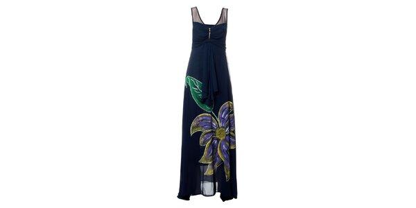 Dámske tmavo modré dlhé šaty s výraznou kvetinou Via Belucci