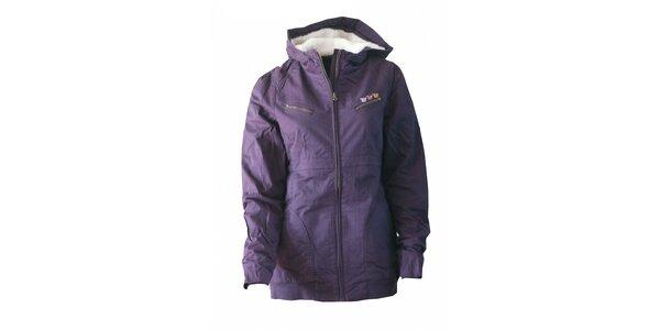 Dámska purpurová bunda Fundango s kožušinkou