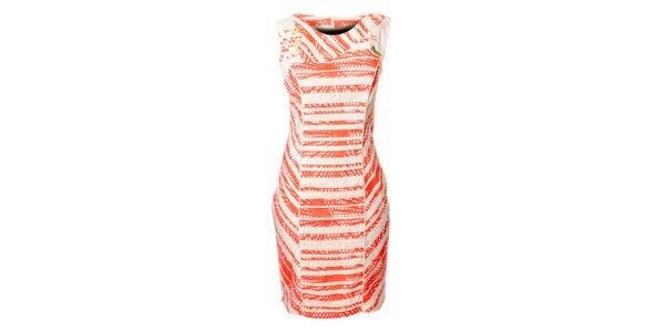 Dámske bielo-ružové prúžkované šaty Via Belluci