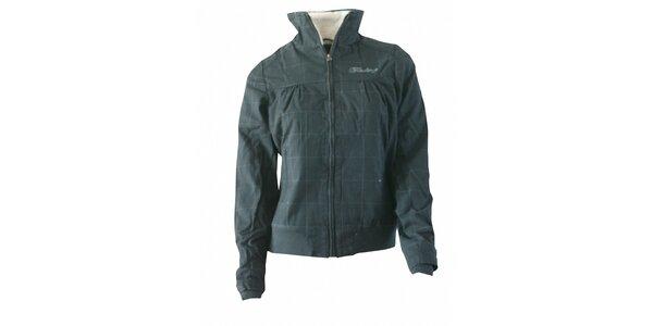 Dámska tmavo šedá kockovaná bunda Fundango