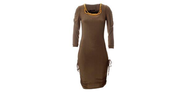 Dámske béžové šaty Via Bellucci so zlatými korálkami
