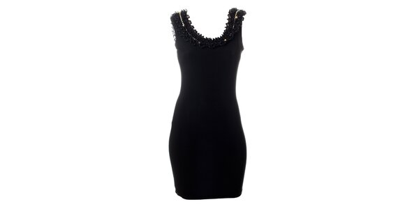 Dámske čierne šaty Via Bellucci s volánikovým lemom