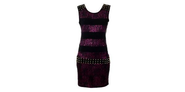 Dámske purpurové čipkové šaty Via Bellucci so zlatými cvokmi