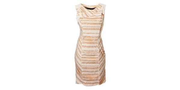 Dámske bielo-hnedé prúžkované šaty Via Belluci