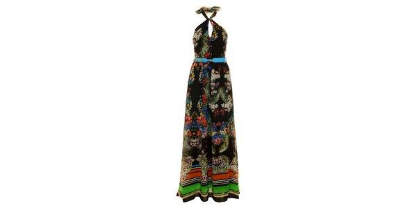 Dámske dlhé čierne šaty Via Bellucci s kvetinovou potlačou
