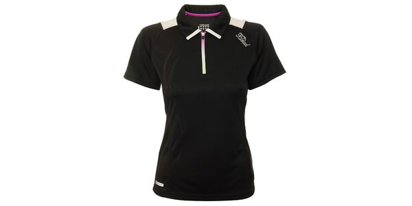 Dámske čierne tenisové tričko s fialovými detailami Head
