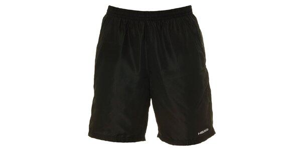 Pánske čierne krátke nohavice s bielym logom Head