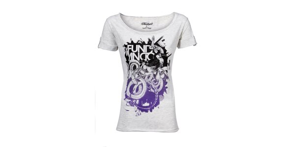 Dámske svetlo šedé melírované tričko Fundango s potlačou