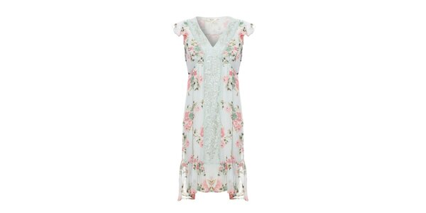 Dámske mentolové šaty Uttam Boutique s kvetinovým vzorom