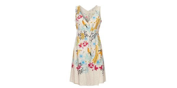 Dámske krémové šaty Uttam Boutique s kvetinovou potlačou