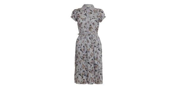 Dámske šedé šaty Uttam Boutique s motýlmi