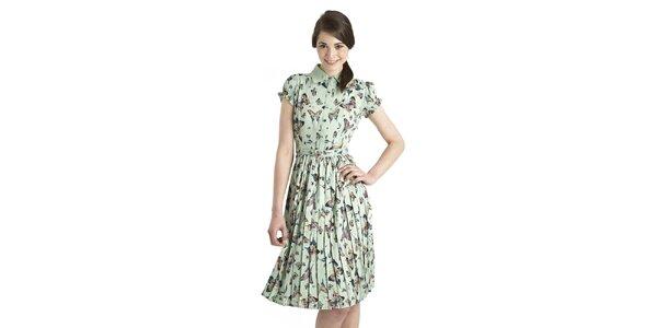 Dámske mentolové šaty Uttam Boutique s motýlmi