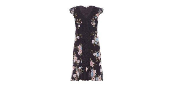 Dámske čierne šaty Uttam Boutique s kvetinovým vzorom