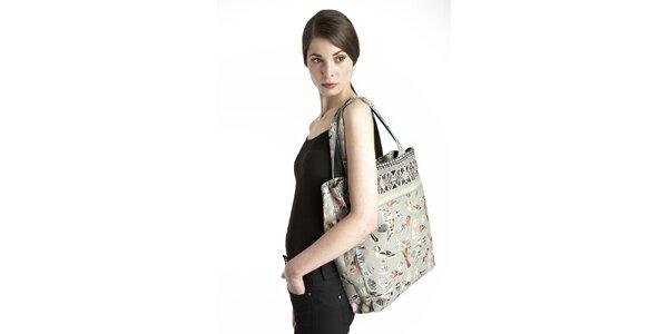 Dámska zelená taška s potlačou vtáčikov Uttam Boutique