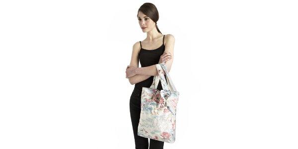 Dámska modro-bielo-ružová taška s lotosovými kvetmi Uttam Boutique