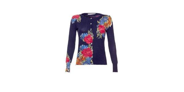 Dámsky tmavo modrý prepínací sveter s kvetinovou potlačou Uttam Boutique