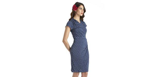 Dámske modré vintage šaty s bielymi bodkami a opasko Uttam Boutique