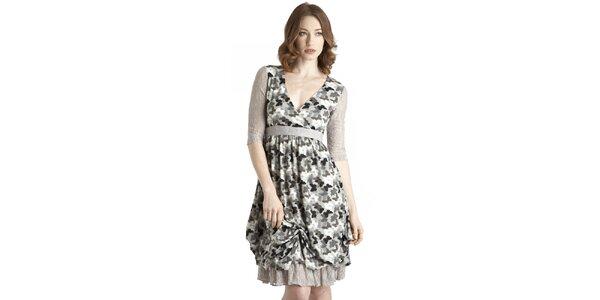 Dámske šedo-modré šaty s motýlím vzorom a čipkovými detailami Uttam Boutique