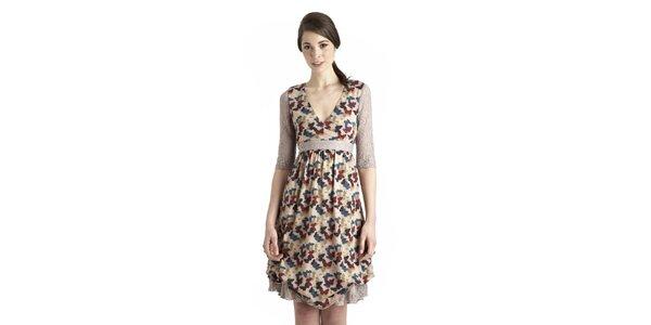 Dámske béžové šaty s motýlím vzorom a čipkovými detailami Uttam Boutique