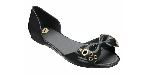 Dámske temne modré sandálky Mel s pevnou pätou a zlatou aplikáciou