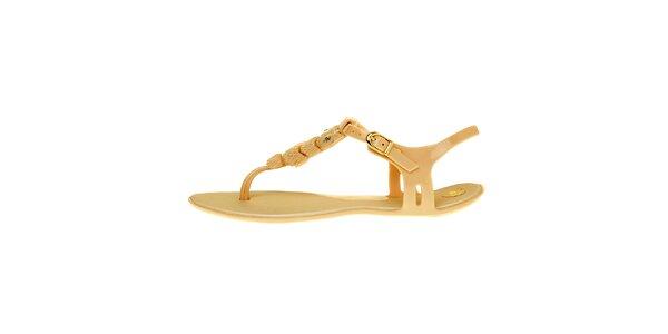 Dámske zlaté sandálky Mel so sovičkou