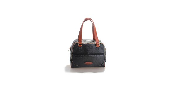 Dámska čierna kabelka Belle&Bloom v efekte pštrosej kože