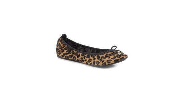 Dámske hnedé leopardie skladacie baleríny RedFoot s mašľou