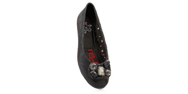 Dámske čierne skladacie baleríny RedFoot s kamienkami