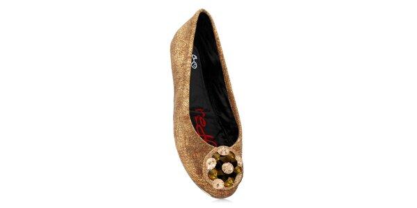 Dámske zlaté skladacie baleríny RedFoot s kamienkami