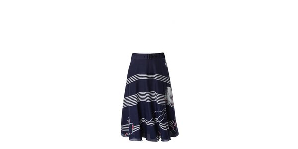 Dámska modro-biela pruhovaná sukňa a vlčími makmi Fever
