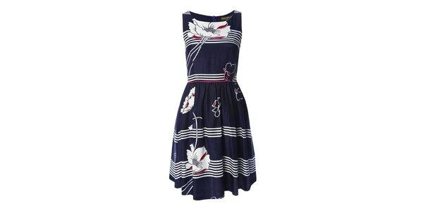 Dámske modro-biele šaty s vlčími makmi Fever