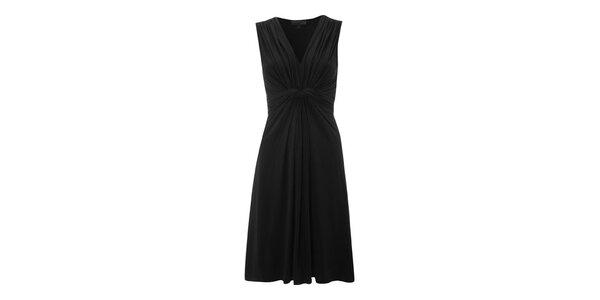 Dámske čierne šaty s riasením Fever
