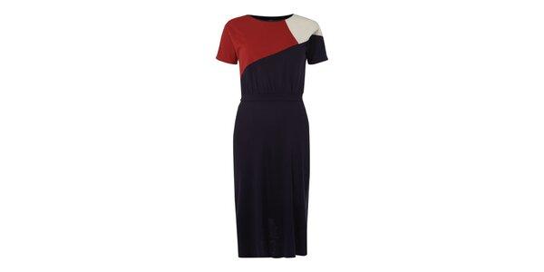 Dámske tmavo modré šaty s červeno-bielym vrchom Fever