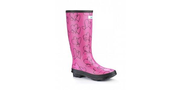 Dámske ružové čižmy Splash by Wedge Welly so srdiečkami
