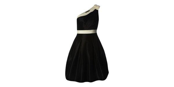 Dámske čierne saténové šaty s balonovou sukňou Fever