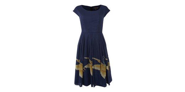 Dámske tmavo modré šaty Fever s motýlmi