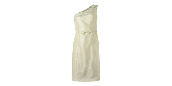 Dámske krémové šaty Fever s jedným ramienkom a čipkou