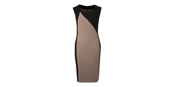 Dámske béžovo-čierne púzdrové šaty Fever