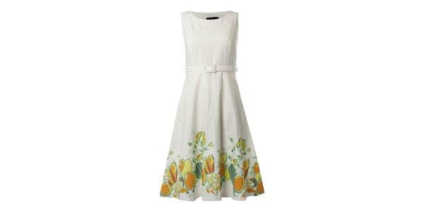 Dámske biele šaty s citrusovou potlačou Fever